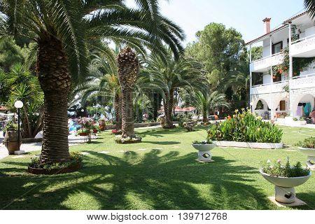 NIKITI, GREECE-JUl  07 , 2016: View at inboard garden in Porfi Beach hotel,Greeece