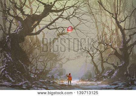 boy looking up red balloon stuck in a tree branches, alone in dark forest, illustration, digital painting