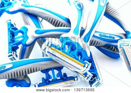 SWINDON UK - JULY 11 2016: 8 Gillette Sensor 3 Disposable Razors on a white background