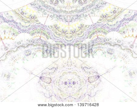 Ethnical lace ornament. Intricate symmetrical pattern with many colorful elements. Background texture for invitations, wedding cards or promotional imagery.