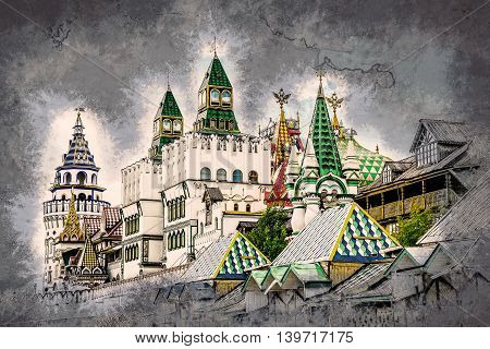 Izmaylovo Kremlin in Moscow, Russia. Vintage painting, background illustration, beautiful picture, travel texture