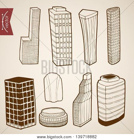 Engraving vintage hand drawn vector building skyscraper Sketch