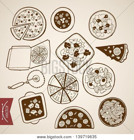 Engraving vintage hand drawn vector pizza box Italian Sketch