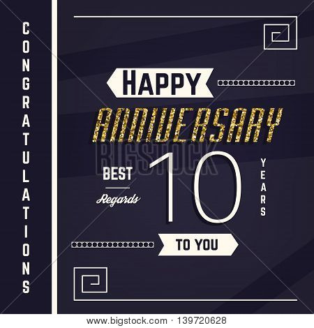 10th anniversary decorated greeting card templatewith gold elements.