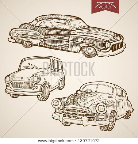Engraving vintage hand drawn retro car vector transport Sketch