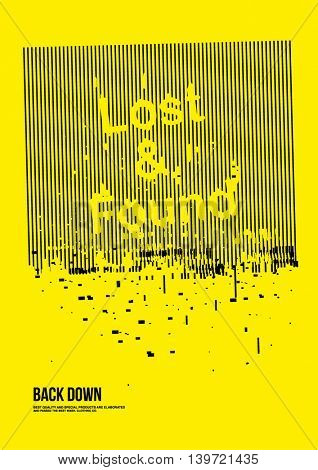 lost and found poster broke effect.Vector illustration 2