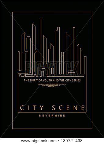simple  line city, skyline, silhouette, icon illustration 2