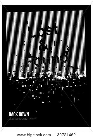 lost and found poster broke effect.Vector illustration.