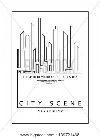 simple  line city, skyline, silhouette, icon illustration.