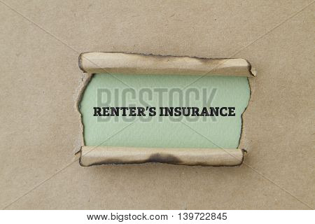 RENTER'S INSURANCE written under torn paper concept.