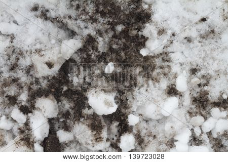 melted snow down to dark dirt grunge texture