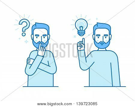 Vector Illustration In Flat Linear Style And Blue Colors - Problem Solving Concept