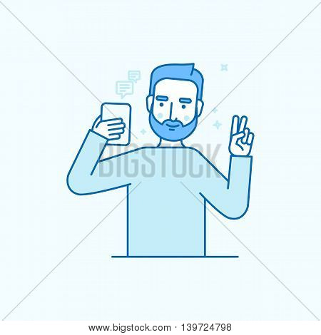 Vector Illustration In Flat Linear Style - Internet Or Video Blog Concept