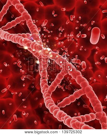 3D render of a DNA strand on abstract blood cell background