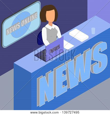 Latest news. Silhouette of the news announcer . The news anchor womanr in the Studio. Vector illustration. Anchorman.