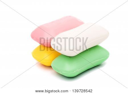color soap perfumed isolated on white background