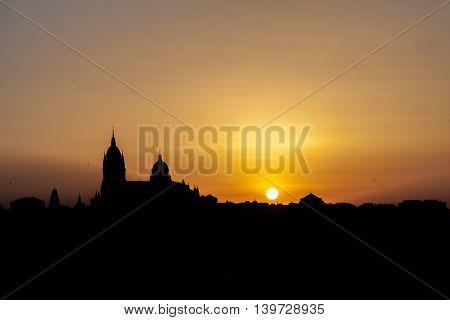 golden sunrise panoramic photograph of the city of Salamanca