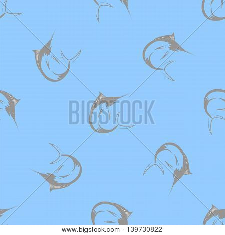 Set of Fish Isolated on Blue Background. Marlin Seamless Pattern