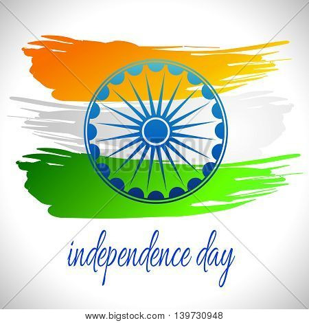 Vector illustration for the India Independence Day. Greeting card for celebration of India Independence Day with colorful yellow green white National Indian Flag on a background with Ashoka Wheel.