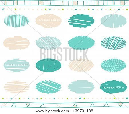 Vector collection of ellipse scribbled elements in hand drawn style