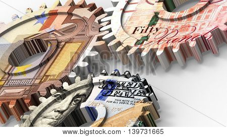 Linked gear with a dollar, euro and pound money sign. 3D illustration.