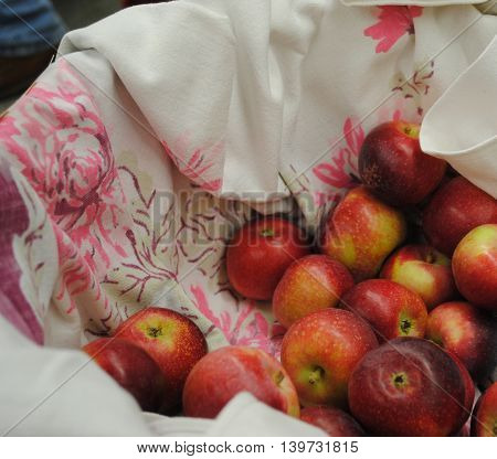 A basket of fresh red apples for visitors.