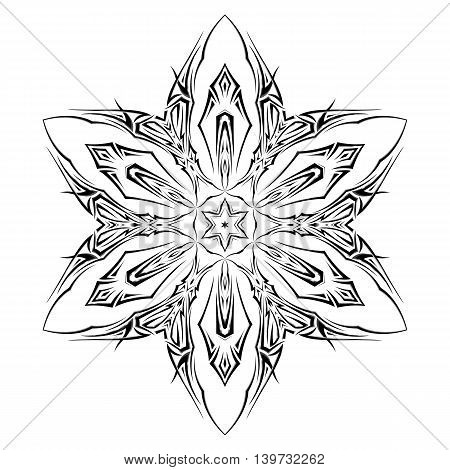 Sketch of tattoo as shuriken with six tips on white background