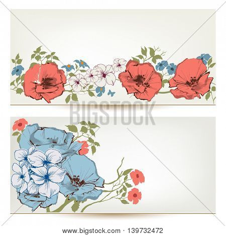 Floral vector banners. Flowers and leaves header set