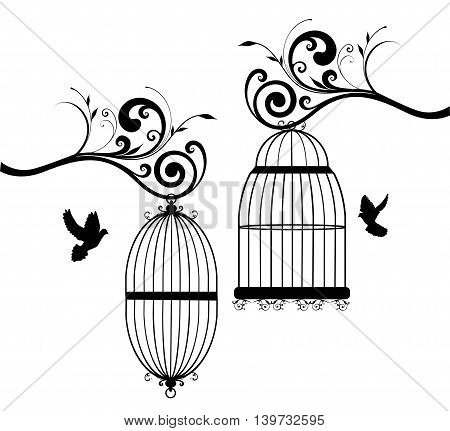 vector illustration of vintage bird cages with birds