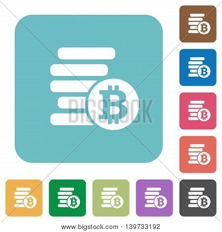 Flat Bitcoins icons on rounded square color backgrounds.