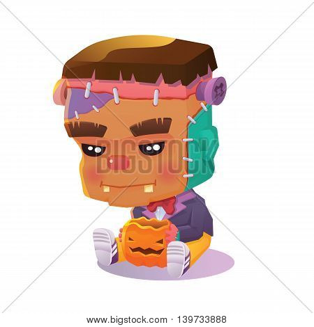 Vector Illustration of Cute Cartoon Character Lonely Frankenstein with Jack O' Lantern