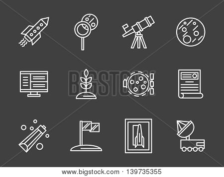 Flight to Mars or Moon. Space colonization program. Vehicles, cosmic food, rover, cultivation of plants. Human adventure to planets. Set of simple white line style vector icons on black background.