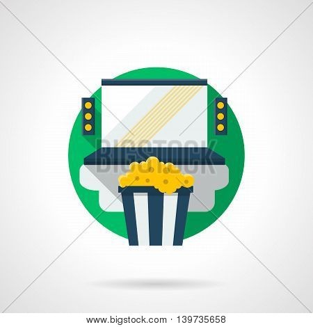 Blue laptop with audio speakers and cup with popcorn. Home cinema system. Watching movies online. Round detailed flat color style vector icon. Web design elements.