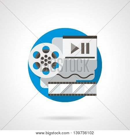 Reel of film, filmstrip and player. Multimedia technology concept. Cinema production and playback, virtual movie gallery. Round detailed flat color style vector icon.
