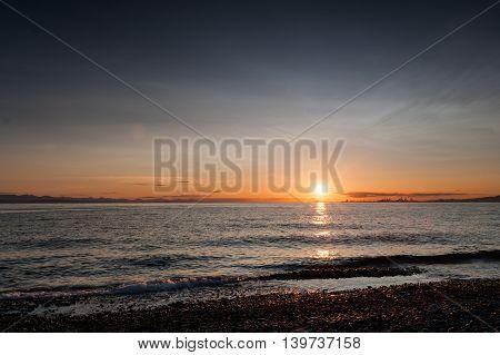 sunset at Point Roberts beach Washington state USA