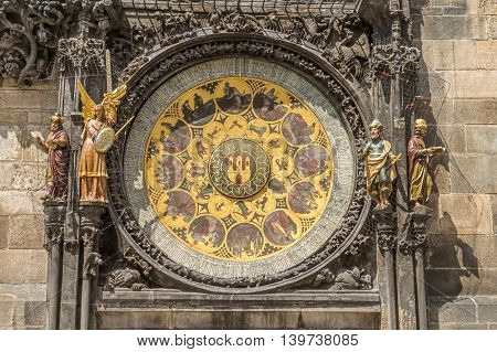 Astronomical Clock or Orloj lower dial on the Staromestske namesti Square, Czech Republic.