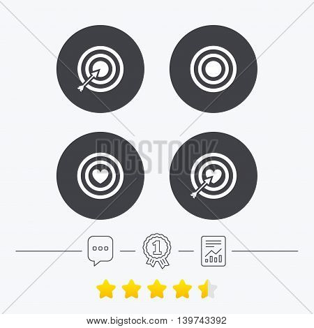 Target aim icons. Darts board with heart and arrow signs symbols. Chat, award medal and report linear icons. Star vote ranking. Vector