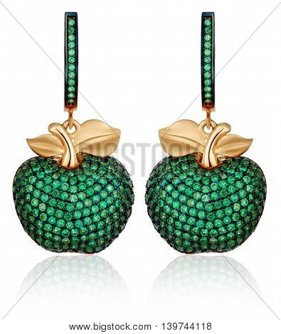 gold earrings with green gems. Gold jewelry with green stones. Gold earrings similar to apples.