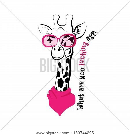head of a giraffe hipster. Giraffe in round glasses on light background. Hand-drawn sketch of a giraffe. Retro Fashion. Giraffe with glasses and scarf and phrase What are you looking at