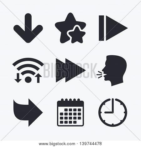Arrow icons. Next navigation arrowhead signs. Direction symbols. Wifi internet, favorite stars, calendar and clock. Talking head. Vector poster