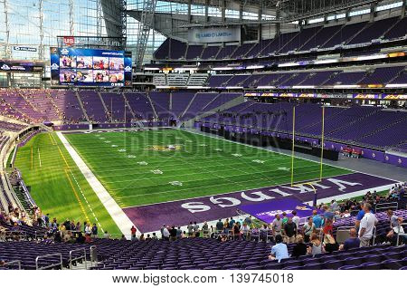 MINNEAPOLIS MN USA - JULY 24 2016: Interior of Minnesota Vikings US Bank Stadium in Minneapolis on a Sunny Day