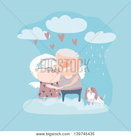 Couple of elderly angels hugging. Vector greeting card