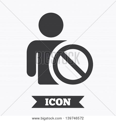 Blacklist sign icon. User not allowed symbol. Graphic design element. Flat blacklist symbol on white background. Vector