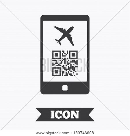 Boarding mobile pass flight sign icon. Airport ticket on smartphone symbol. Graphic design element. Flat boarding pass symbol on white background. Vector