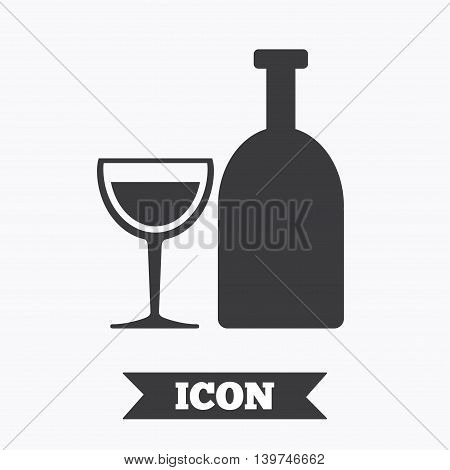 Alcohol sign icon. Drink symbol. Bottle with glass. Graphic design element. Flat alcohol symbol on white background. Vector