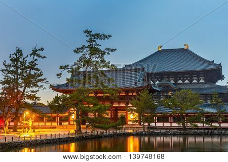 Nara, Japan at Todaiji Temple at dusk.