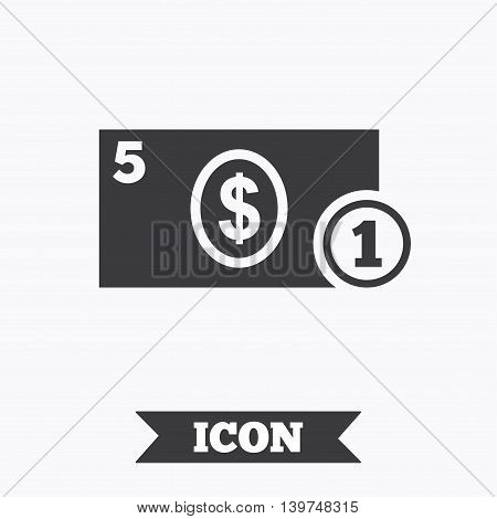 Cash sign icon. Dollar Money symbol. USD Coin and paper money. Graphic design element. Flat cash symbol on white background. Vector