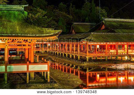 Miyajima, Hiroshima, famed floating Shrine temple  itsukushima Japan at dusk