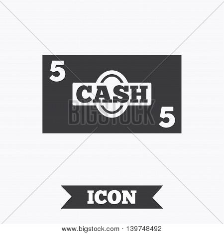 Cash sign icon. Money symbol. Coin and paper money. Graphic design element. Flat cash symbol on white background. Vector