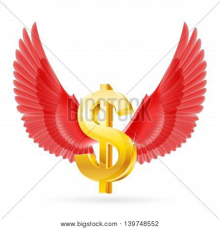 Golden United States dollar symbol with red wings